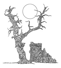 zentangle paintin  tree and Castle