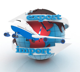 Airplane and  globe. 3d render illustration