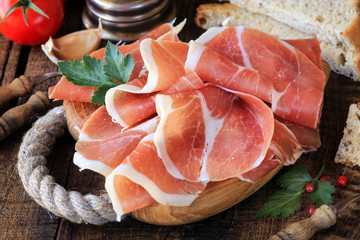 Jamon serrano - Spanish cured ham or Italian prosciutto