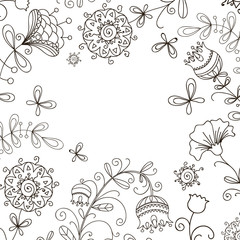 black and white floral doodle pattern