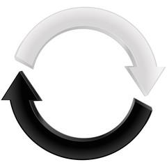 Arrow black and white. Refresh icon.