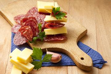 salami and cheese for an appetizer