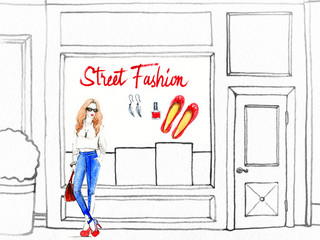 woman walking , shop windows. shopping. watercolor illustration