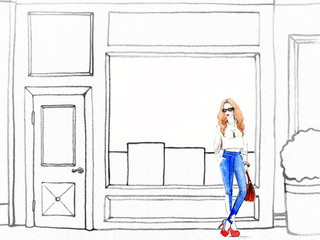 woman walking , shop windows. shopping. watercolor illustration