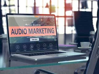 Audio Marketing Concept on Laptop Screen.