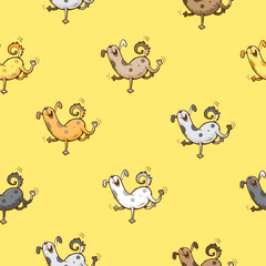 Vector seamless pattern with cartoon funny dogs on  yellow background.