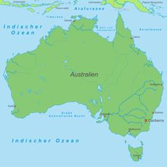 Australien in Grün (beschriftet) - Vektor