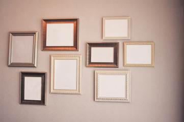 vintage frame in room  with retro filter effect
