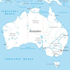 Australien mit Bundesstaaten in Weiß (beschriftet) - Vektor