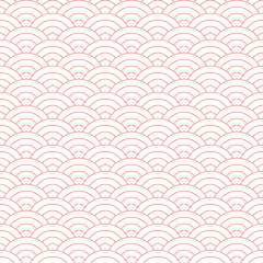 Wave Red Pattern. Japanese Texture. Wave Background in Vector