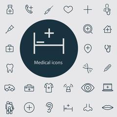 Medical outline, thin, flat, digital icon set