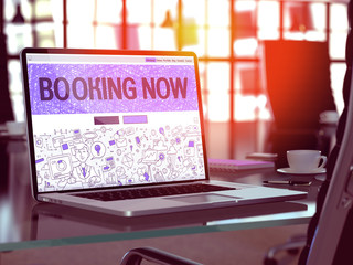 Laptop Screen with Booking Now Concept.