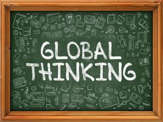 Global Thinking - Hand Drawn on Green Chalkboard.