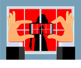Spy Camera (vector) - Hands holding a smartphone taking aim to shoot a picture or video of a woman inside a room through a window