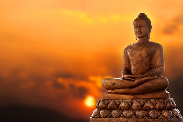 Photo sur Plexiglas Buddha Buddha and sunset