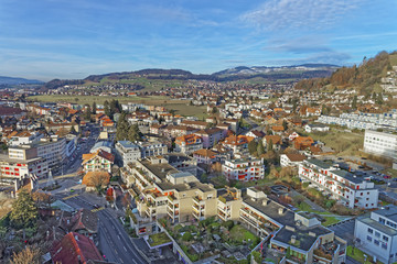 Aerial View of the Thun Town and mountains