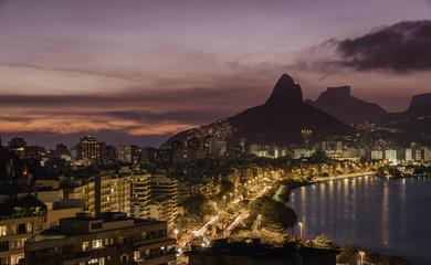 Rio De Janeiro Mountains panorama at sunset , Brazil