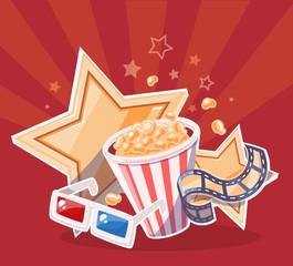 Vector realistic illustration of cinema glasses, popcorn, yellow