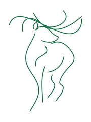 Graphic image of a deer - the symbol of the lines green. Vector on white background. Deer with long horns and legs.