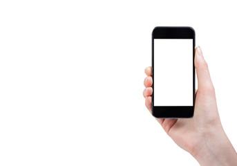 Female hand holding smart phone isolated on white background wit