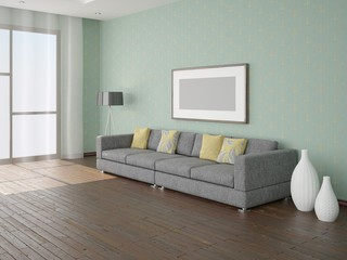 The design of a living room with a sofa and a floor lamp .
