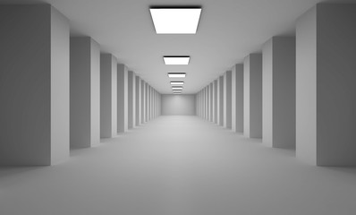 Long 3D passage with flat white lights  on ceiling