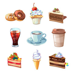 Street cafe products vector cartoon set. Chocolate, cupcake, cake, cup of coffee, donut, cola and ice cream. Dessert snack,  pastry tasty illustration