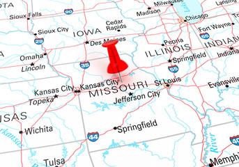 Red Thumbtack Over Missouri State USA Map