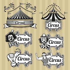 Vintage circus vector emblems, logos, labels set. Circus emblem, retro circus logo, carnival circus tent illustration