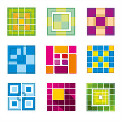 Wall Mural - Geometric cube, square shapes for logo. Square logo business, logo geometric, cube logo abstract, square cubic shape. Vector illustration