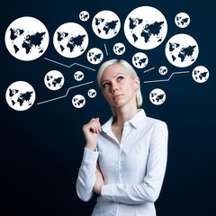 Business woman thinking about web map icon social network