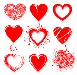 Set of grunge vector heart shapes