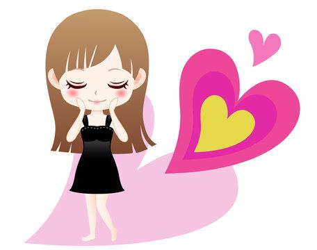 かわいい女の子のキャラクターイラストとハート