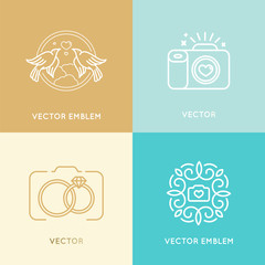 Vector set of wedding photography logo design templates
