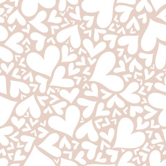 Valentine seamless stylish beige pattern with hearts.
