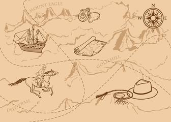 Adventure vintage seamless pattern. Map of treasure with rider, mountains, hills, river, compass and other design elements. Vector hand drawn background.