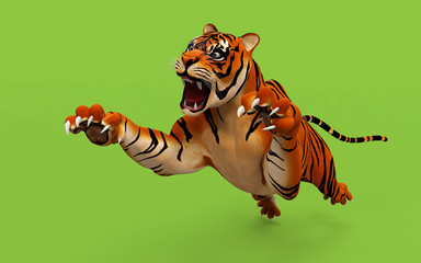 Dangerous Bengal Tiger roaring and jumping isolated on green background, with clipping path, 3d digital rendered model