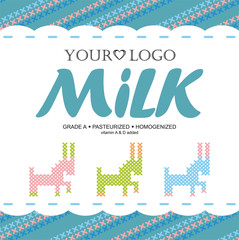 Label milk with the concept of cross-stitch