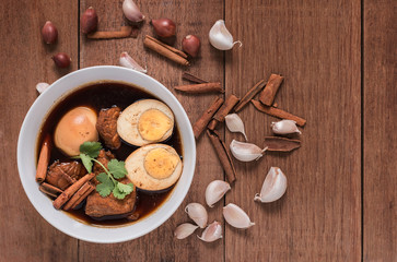 """Thailand cuisine called """"Pa-lo"""" , hard-boiled egg and pork stew"""