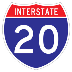 Interstate 20 sign, which runs through Indiana and Michigan