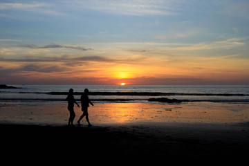 Romantic scene of a couple silhouette and sunset background from Khaolak, Thailand
