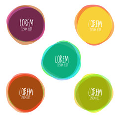 Vector colorful round abstract shapes. Earth colors for fall season banner design. Flat, no transparency.