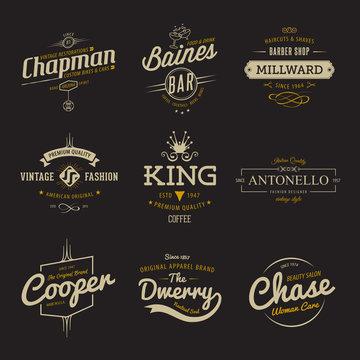Vector vintage labels. Templates Set for banner, insignias, business brand logo design.