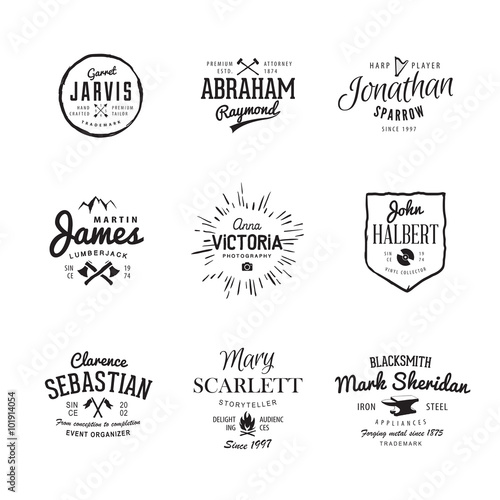 vector vintage labels templates set for banner insignias business