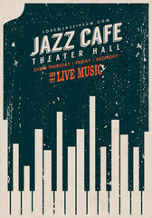 Vector Vintage Jazz music poster template. Texture effects can be turned off.