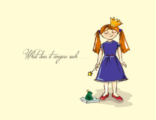 Hand-drawn illustrations. Card with a princess. Red-haired girl with a magic wand. What does it conjure such.