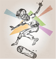 skeleton skater  on abstract retro background