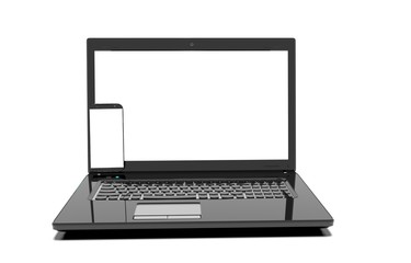 laptop, mobile phone - isolated on white with clipping path