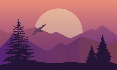 Vector illustration of landscape in north areas, evening dusk with pine forest on the rocks. Scenic view of meadow with nature pine, firtree, coniferous trees, sky, mountains and sun.