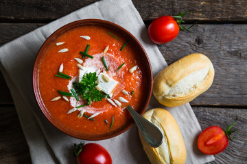 Tomato soup with herbs and feta cheese